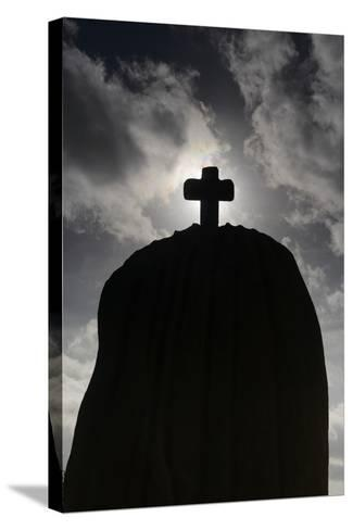 France, Brittany, C™tes-D'Armor, TrŽbeurden, Menhir of Saint-Uzec, Silhouette-Andreas Keil-Stretched Canvas Print
