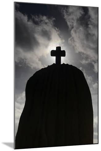 France, Brittany, C™tes-D'Armor, TrŽbeurden, Menhir of Saint-Uzec, Silhouette-Andreas Keil-Mounted Photographic Print