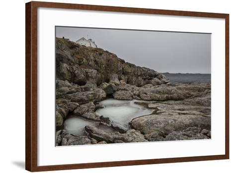 Coastal Scenery in Norway, Lofoten, Henningsv¾r, Long Exposure-Dieter Meyrl-Framed Art Print