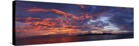 The Seychelles, Evening Mood, View to Praslin, Panorama-Catharina Lux-Stretched Canvas Print