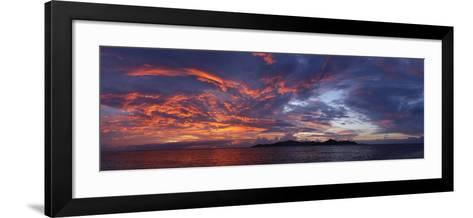 The Seychelles, Evening Mood, View to Praslin, Panorama-Catharina Lux-Framed Art Print