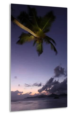 The Seychelles, Evening Mood, Anse Severe, View to Praslin, Palm-Catharina Lux-Metal Print