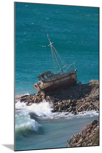 Greece, Crete, Coast, Fishing Cutter, Stranded-Carl-Werner Schmidt-Luchs-Mounted Photographic Print