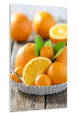 Oranges and Tangerines in a Bowl on Old Wood-Jana Ihle-Metal Print