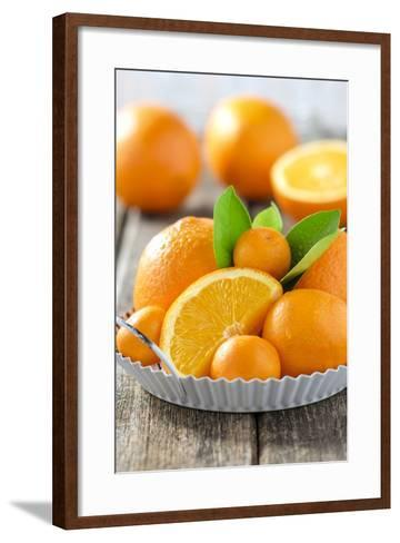 Oranges and Tangerines in a Bowl on Old Wood-Jana Ihle-Framed Art Print