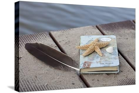 Still Life with Travel Diary, Foodbridge, Mussel, Feather, Starfish-Andrea Haase-Stretched Canvas Print