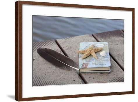 Still Life with Travel Diary, Foodbridge, Mussel, Feather, Starfish-Andrea Haase-Framed Art Print