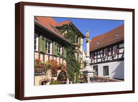 Germany, Baden-WŸrttemberg, Kraichgau (Region), Bretten (Village), Hundles Fountain-Udo Siebig-Framed Art Print