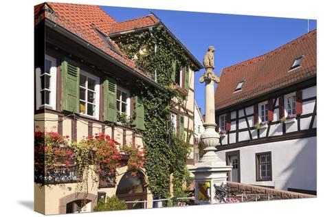 Germany, Baden-WŸrttemberg, Kraichgau (Region), Bretten (Village), Hundles Fountain-Udo Siebig-Stretched Canvas Print