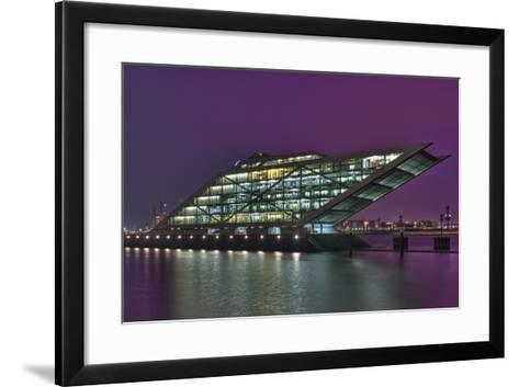 Germany, Hanseatic Town Hamburg, Dockland, Office Building, in the Evening-Sebastian Scheuerecker-Framed Art Print