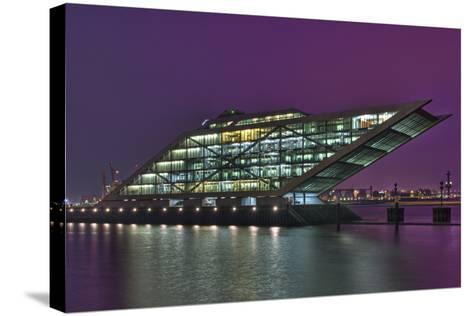 Germany, Hanseatic Town Hamburg, Dockland, Office Building, in the Evening-Sebastian Scheuerecker-Stretched Canvas Print