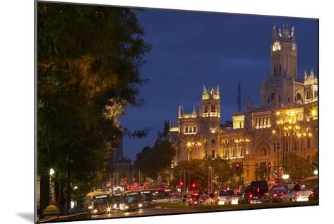 Spain, Madrid, Street-Scene, Calle De Alcala, Plaza De Cibeles, Palacio De Comunicaciones, Evening-Chris Seba-Mounted Photographic Print