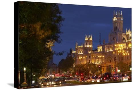 Spain, Madrid, Street-Scene, Calle De Alcala, Plaza De Cibeles, Palacio De Comunicaciones, Evening-Chris Seba-Stretched Canvas Print