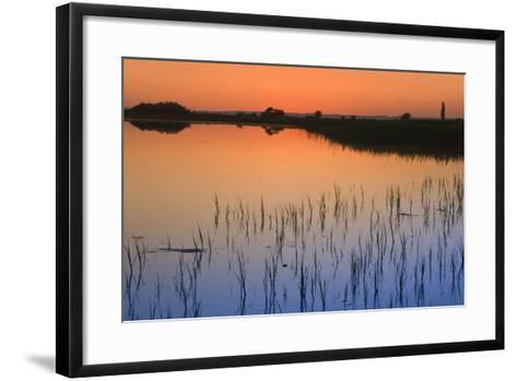 Austria, Burgenland, Ferto National Park, Lake Neusiedl, Scenic View of Lake at Sunset-Rainer Mirau-Framed Art Print