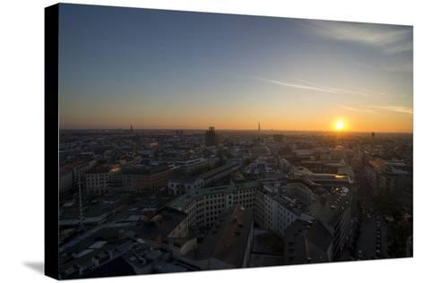Sunset Above Munich, Germany-Benjamin Engler-Stretched Canvas Print
