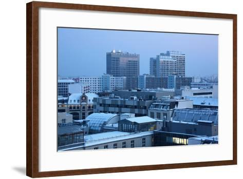 Germany, Berlin Mitte, Dusk, Snowy Roofs-Catharina Lux-Framed Art Print