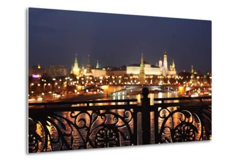 Moscow, Kremlin, Distant View from the Patriarshy Bridge, at Night-Catharina Lux-Metal Print