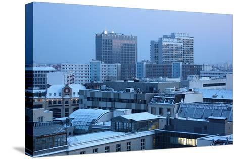 Germany, Berlin Mitte, Dusk, Snowy Roofs-Catharina Lux-Stretched Canvas Print