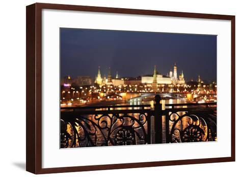 Moscow, Kremlin, Distant View from the Patriarshy Bridge, at Night-Catharina Lux-Framed Art Print