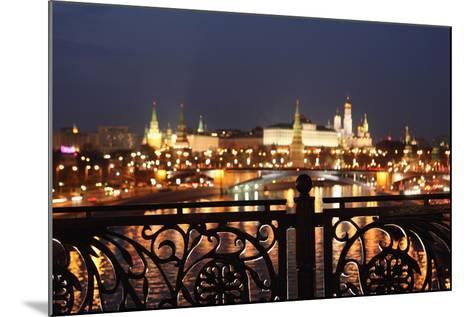 Moscow, Kremlin, Distant View from the Patriarshy Bridge, at Night-Catharina Lux-Mounted Photographic Print