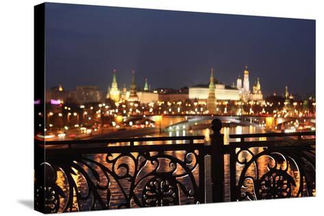 Moscow, Kremlin, Distant View from the Patriarshy Bridge, at Night-Catharina Lux-Stretched Canvas Print