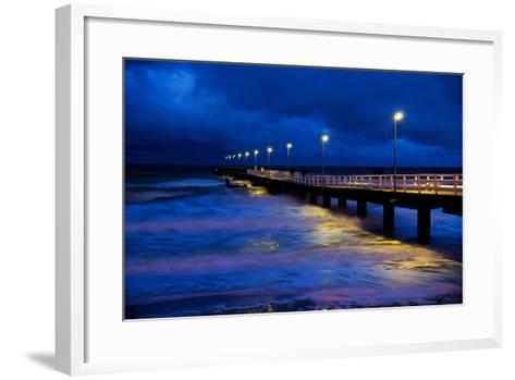 Pier Timmendorfer Strand, Dusk, Fog-Thomas Ebelt-Framed Art Print