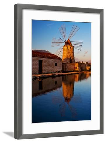 Windmill by the Old Saltwork Layout in Seaport Trapani, Sicily, Italy-Thomas Ebelt-Framed Art Print