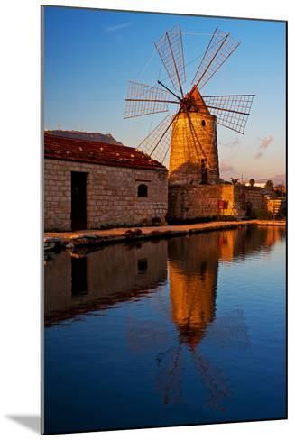 Windmill by the Old Saltwork Layout in Seaport Trapani, Sicily, Italy-Thomas Ebelt-Mounted Photographic Print