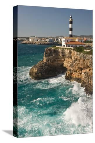Spain, Majorca, Portocolom, Townscape, Lighthouse-Thomas Ebelt-Stretched Canvas Print
