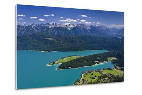 Germany, Bavaria, Upper Bavaria, Walchensee (Lake), Panoramic Views, Herzogstand (Mountain)-Udo Siebig-Metal Print