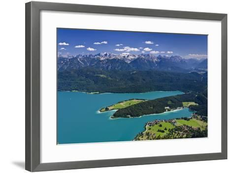 Germany, Bavaria, Upper Bavaria, Walchensee (Lake), Panoramic Views, Herzogstand (Mountain)-Udo Siebig-Framed Art Print