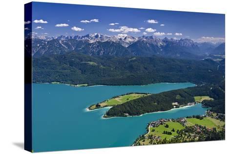 Germany, Bavaria, Upper Bavaria, Walchensee (Lake), Panoramic Views, Herzogstand (Mountain)-Udo Siebig-Stretched Canvas Print