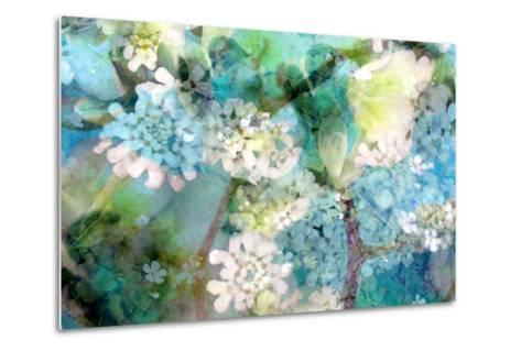 Poetic Photographic Layer Work from White and Blue Flowers with Textures-Alaya Gadeh-Metal Print