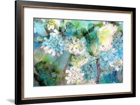 Poetic Photographic Layer Work from White and Blue Flowers with Textures-Alaya Gadeh-Framed Art Print