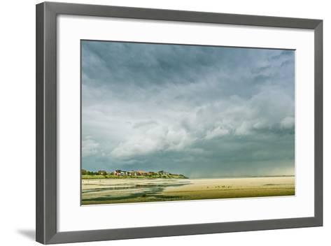 Germany, Schleswig-Holstein, Amrum, Sandy Beach, Sandbank, Kniepsand, Cloud Mood-Ingo Boelter-Framed Art Print
