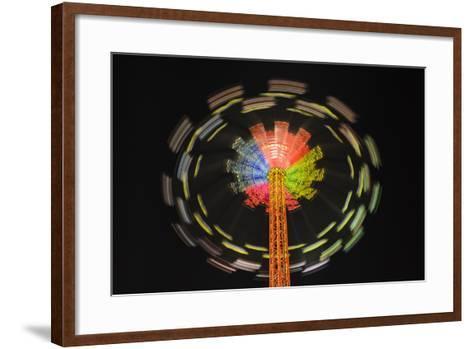Germany, Bavaria, Munich, Theresienwiese Oktoberfest, Star Flyer Carousel, Night-Udo Siebig-Framed Art Print