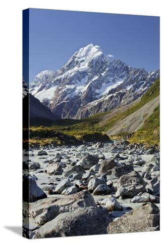 Aoraki, Hooker River, Mount Cook National Park, Canterbury, South Island, New Zealand-Rainer Mirau-Stretched Canvas Print