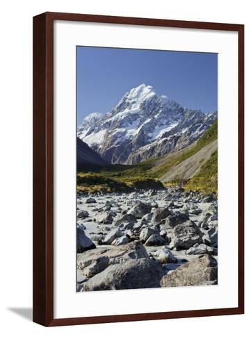 Aoraki, Hooker River, Mount Cook National Park, Canterbury, South Island, New Zealand-Rainer Mirau-Framed Art Print