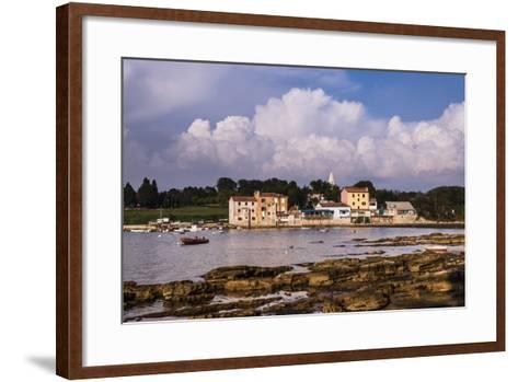 Croatia, Istria, Adriatic Coast, Umag, Village Savudrija, View of the Town in the Evening Light-Udo Siebig-Framed Art Print