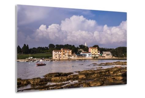 Croatia, Istria, Adriatic Coast, Umag, Village Savudrija, View of the Town in the Evening Light-Udo Siebig-Metal Print