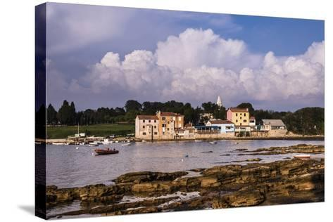Croatia, Istria, Adriatic Coast, Umag, Village Savudrija, View of the Town in the Evening Light-Udo Siebig-Stretched Canvas Print