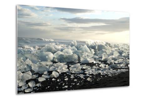 Ice, Icebergs, Black Lava Beach, Glacier Lagoon, Jškulsarlon, South Iceland-Julia Wellner-Metal Print
