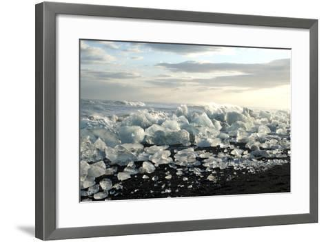 Ice, Icebergs, Black Lava Beach, Glacier Lagoon, Jškulsarlon, South Iceland-Julia Wellner-Framed Art Print