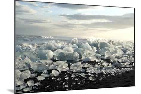 Ice, Icebergs, Black Lava Beach, Glacier Lagoon, Jškulsarlon, South Iceland-Julia Wellner-Mounted Photographic Print
