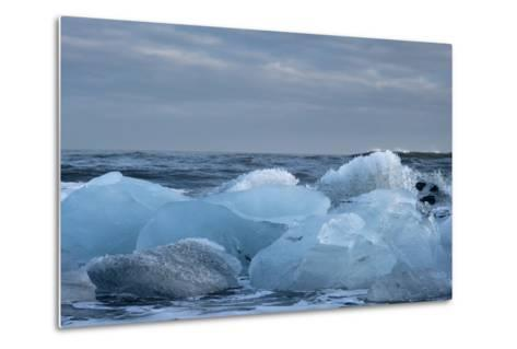 Ice, Icebergs, Black Lava Beach, Glacier Lagoon, Jškulsarlon, South Iceland-Julia Wellner-Metal Print