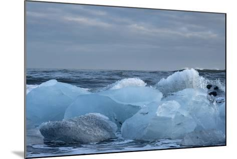 Ice, Icebergs, Black Lava Beach, Glacier Lagoon, Jškulsarlon, South Iceland-Julia Wellner-Mounted Photographic Print