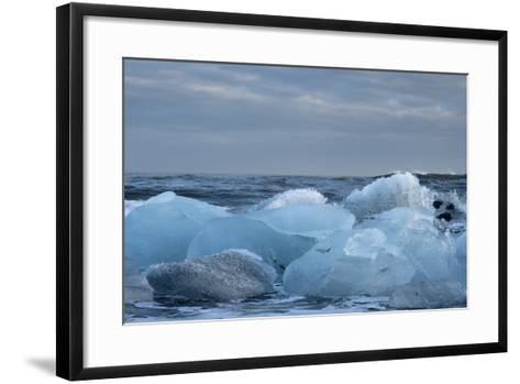 Ice, Icebergs, Black Lava Beach, Glacier Lagoon, Jškulsarlon, South Iceland-Julia Wellner-Framed Art Print