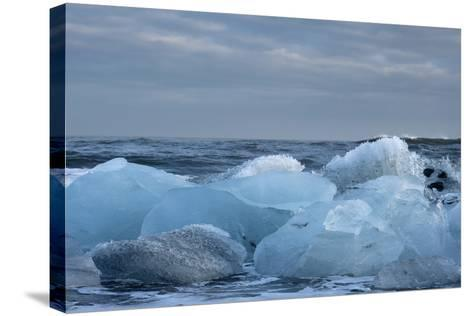 Ice, Icebergs, Black Lava Beach, Glacier Lagoon, Jškulsarlon, South Iceland-Julia Wellner-Stretched Canvas Print