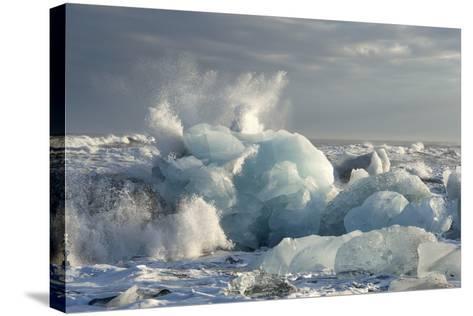 Ice, Icebergs, Black Lava Beach, Glacier Lagoon, Jškulsarlon, South Iceland-Julia Wellner-Stretched Canvas Print