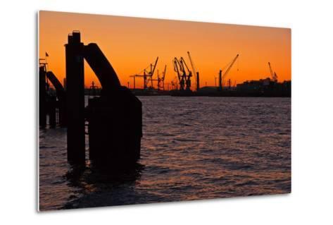 Morning on the River Elbe in Hamburg Harbor-Thomas Ebelt-Metal Print